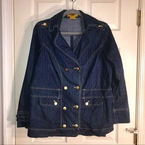 Denim Military Style Pea Coat Jacket, Size 1X